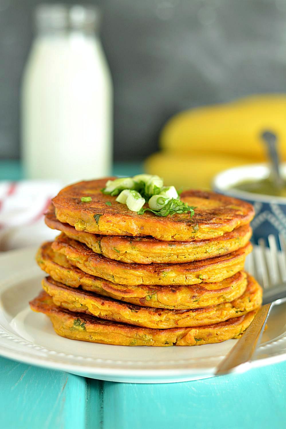 Savory Pumpkin Pancakes I www.ruchiskitchen.com I