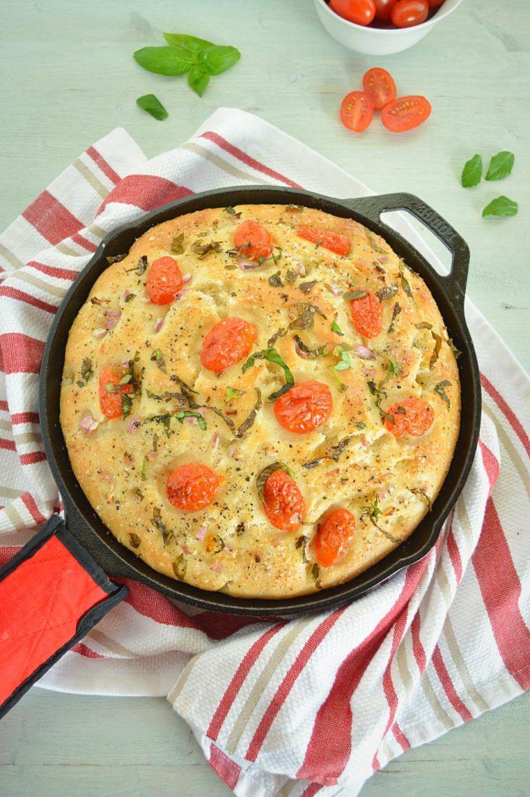 No Knead Tomato Basil Focaccia Bread How To Make Focaccia