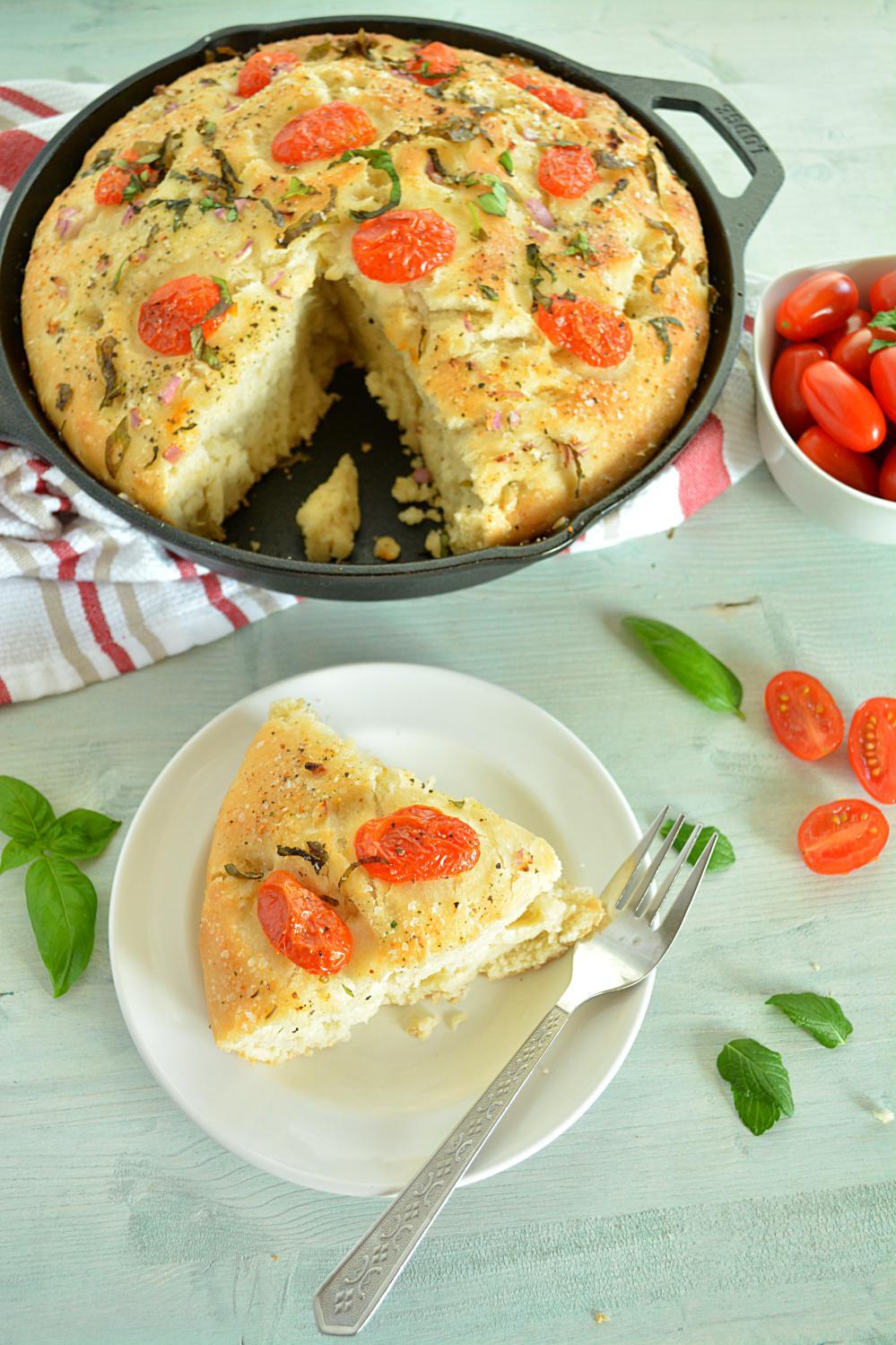 No knead cherry tomato focaccia bread - Ruchiskitchen