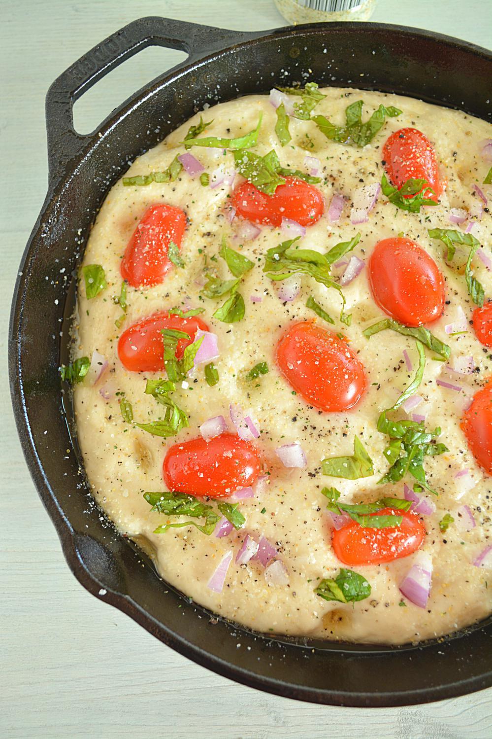 No Knead Tomato Basil Focaccia Bread - Ruchiskitchen