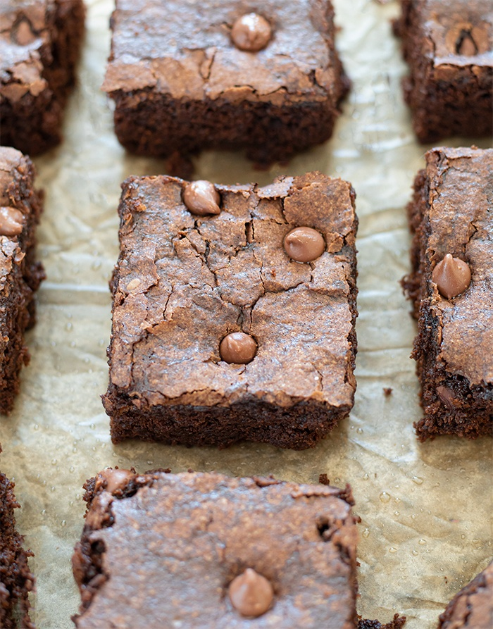 Freshly baked vegan chocolate brownies cut in squares