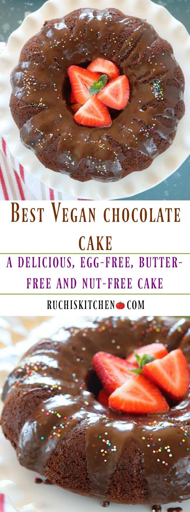 Vegan Chocolate Cake - Ruchiskitchen.com