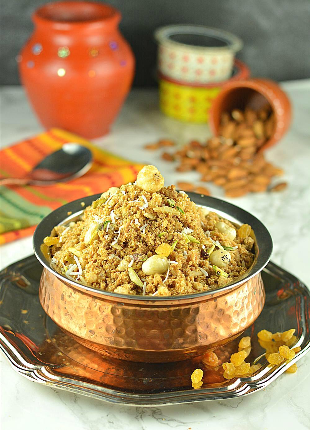 Panjiri Recipe   Panjiri recipe also referred to as Dabra is an excellent winter treat.  www.ruchiskitchen.com