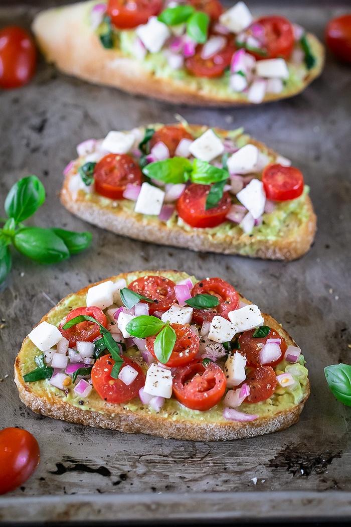 Easy Avocado Bruschetta Recipe on a baking tray