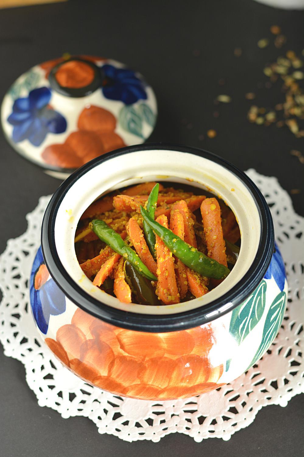 step by step carrot pickle indian style with pictures