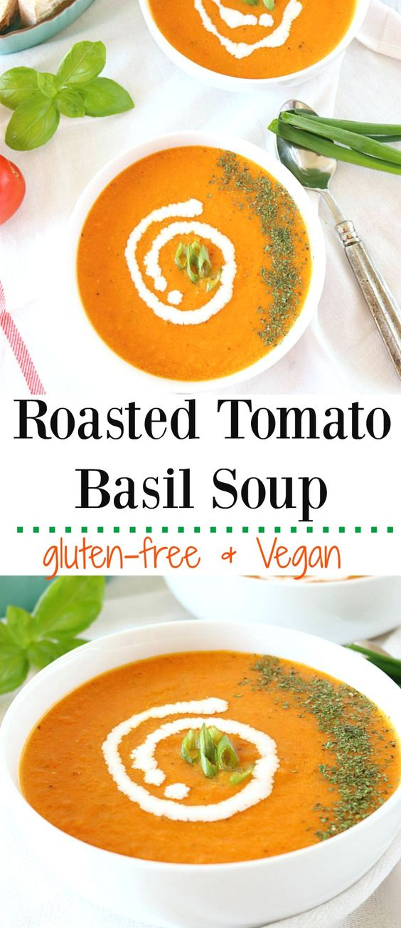 Vegan Roasted Tomato Basil Soup - Ruchiskitchen