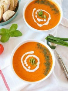 Roasted Tomato Basil Soup - Ruchiskitchen