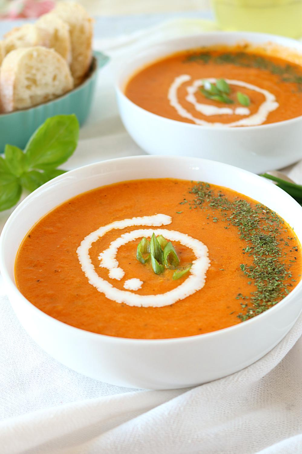 Roasted Tomato Basil Soup - Ruchiskitchen