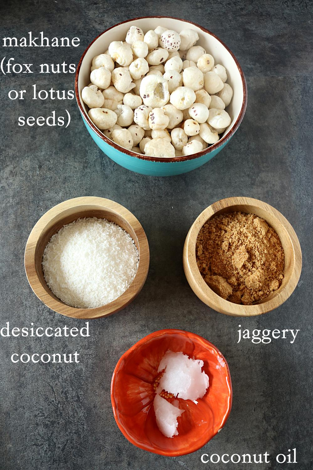 Ingredients for Gur Makhane or Jaggery Caramelized Lotus Seeds