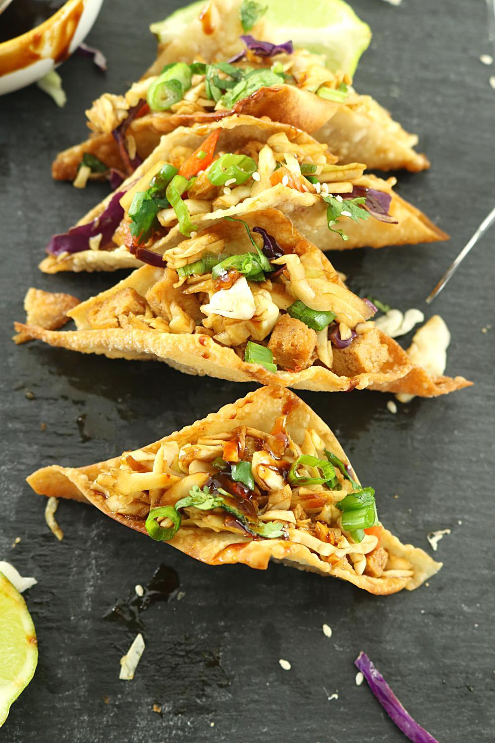 Grilled Tofu Wonton Tacos or Bowls