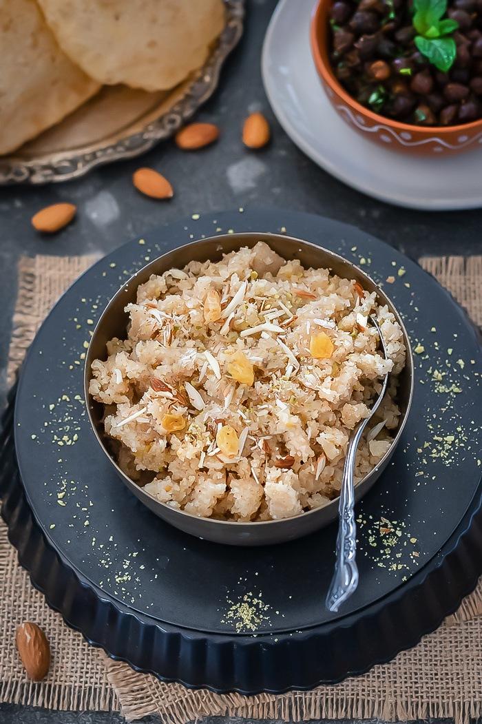 Sooji Halwa - Ashtami Prasad garnished with dry nuts