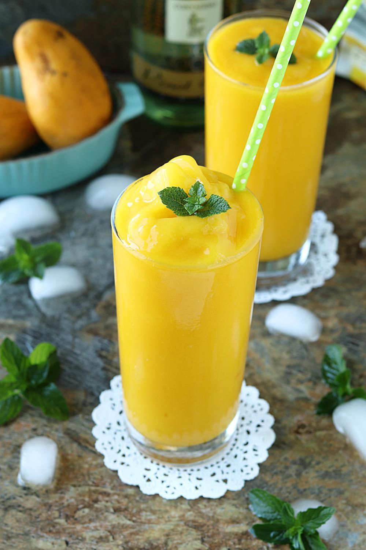 5 minute Mango White Wine Slushie | ruchiskitchen.com