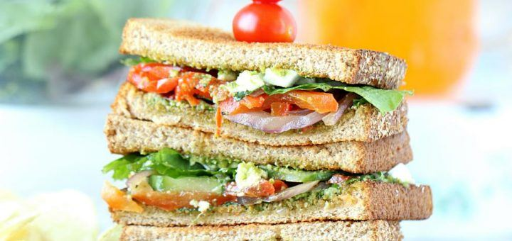 Summer Veggie Sandwiches with Pesto - Ruchiskitchen