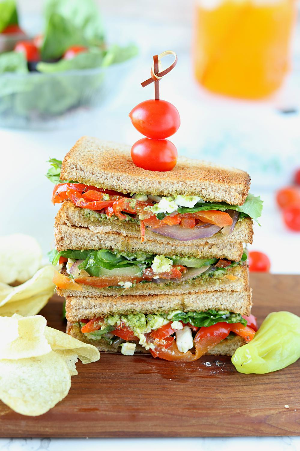 Summer Veggie Sandwiches with Pesto