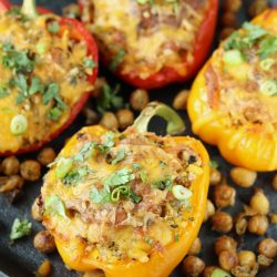 Roasted Chickpeas and Quinoa Stuffed Bell Peppers