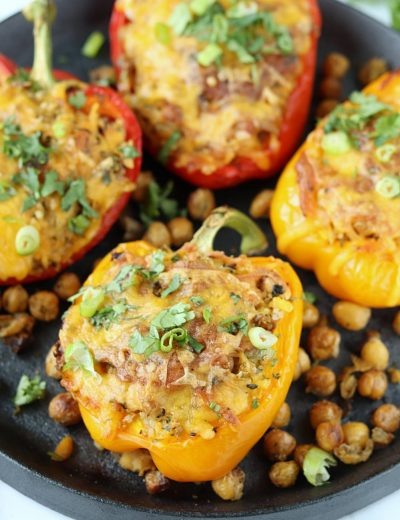Roasted Chickpeas and Quinoa Stuffed Bell Peppers - Ruchiskitchen