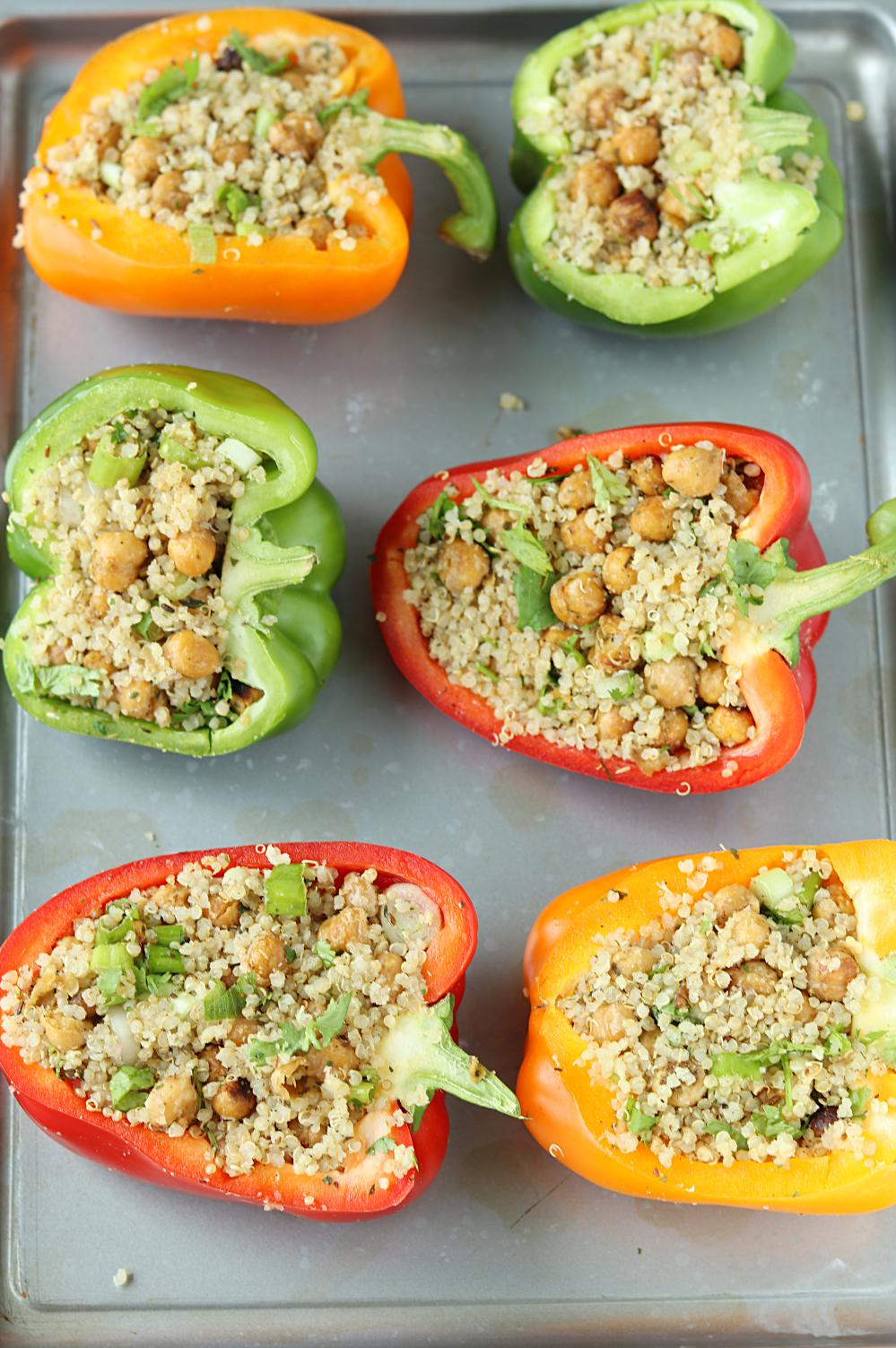 Roasted Chickpeas And Quinoa Stuffed Bell Peppers Stuffed