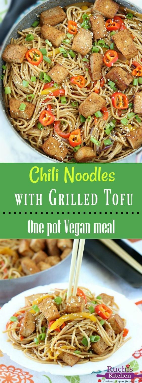 Chili Noodles With Grilled Tofu - Ruchiskitchen