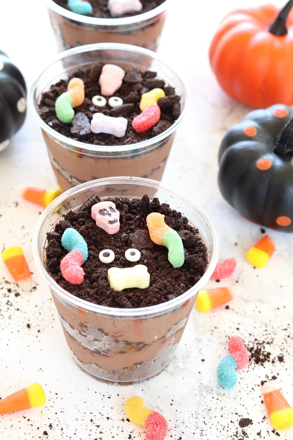 Chocolate Brownie Halloween Dirt Cups Worms And Brownie