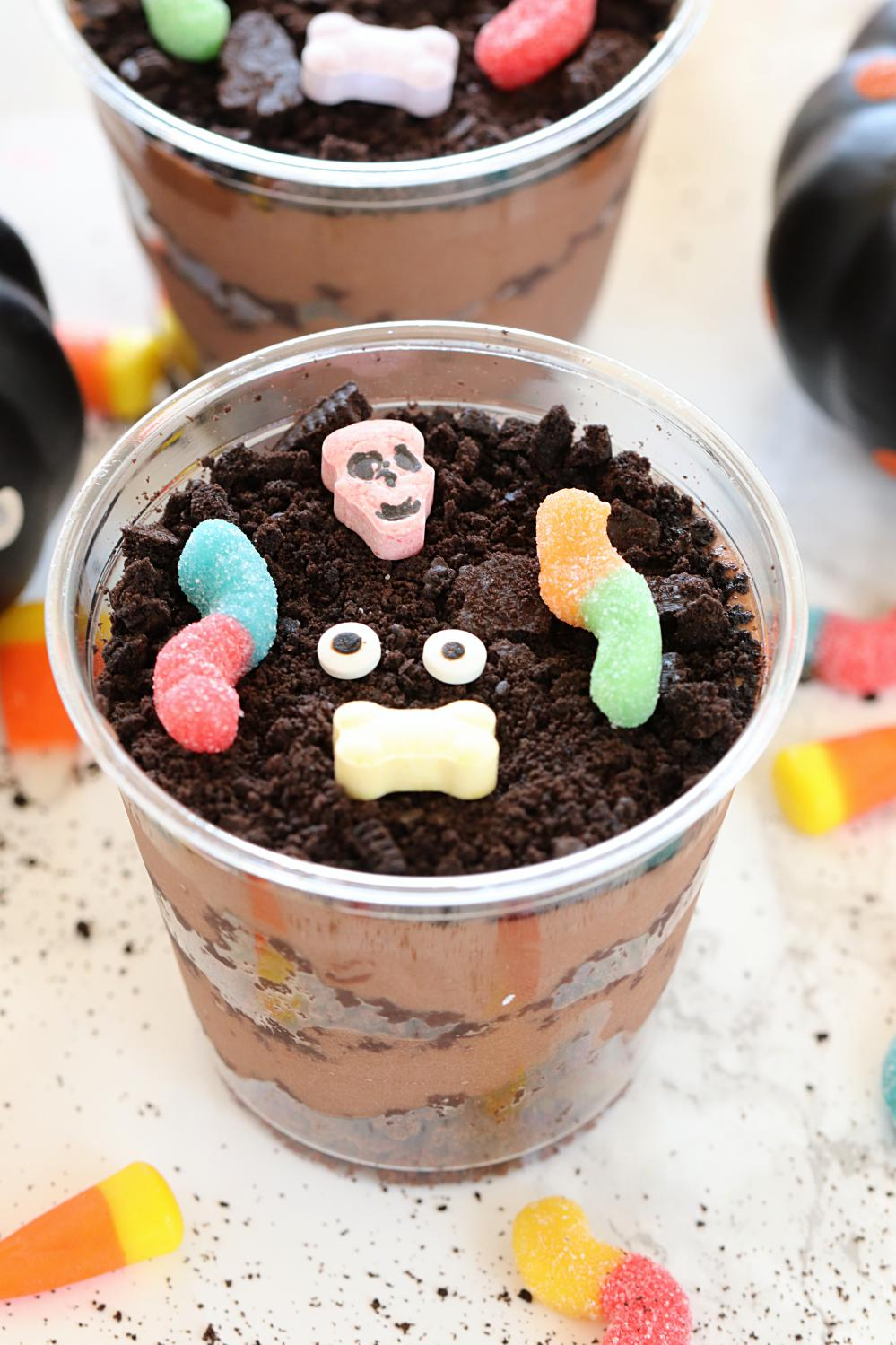 Chocolate Brownie Halloween Dirt Cups