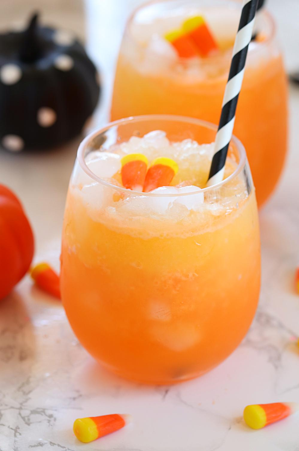 Orange Drink for Halloween with candy corn