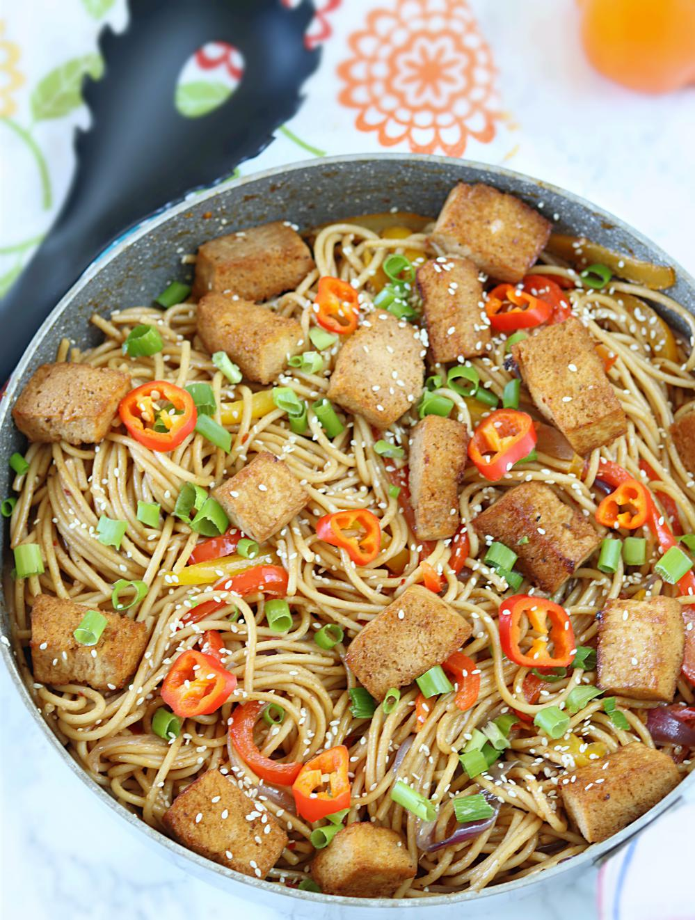Chili Noodles With Grilled Tofu in peanut sauce
