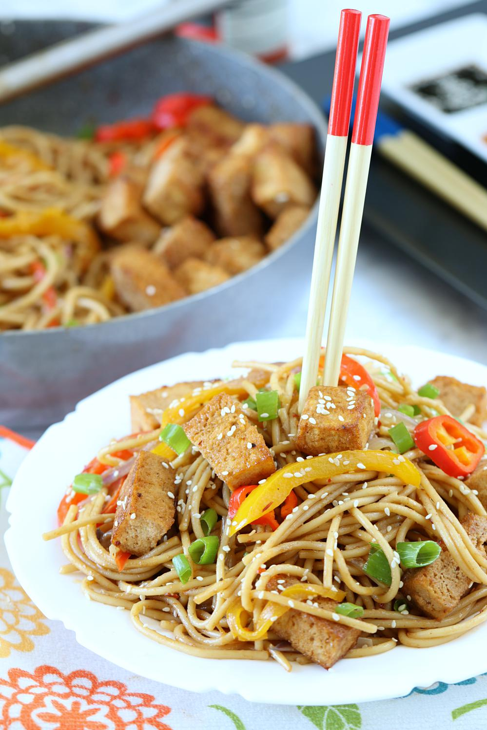 Chili Noodles With Grilled Tofu