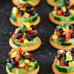 Black Bean Corn Salsa cracker Bites