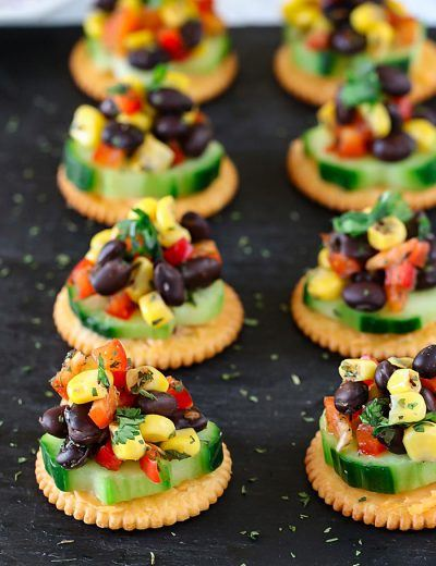 Black bean and corn on Ritz crackers