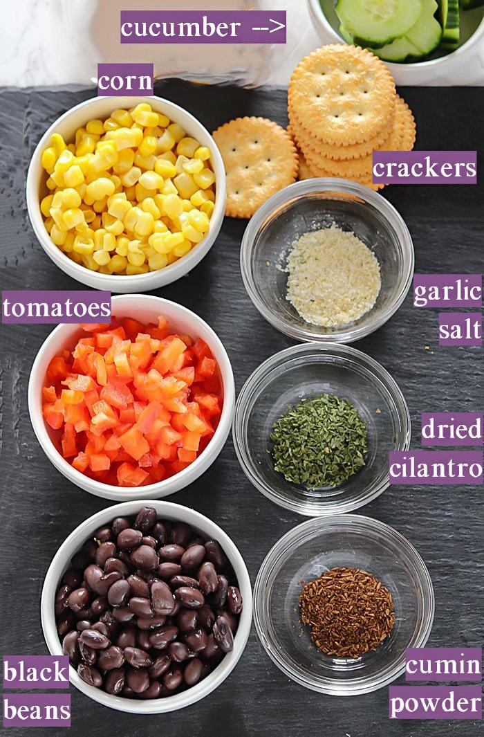Ingredients required to make Black bean corn salsa Ritz bites