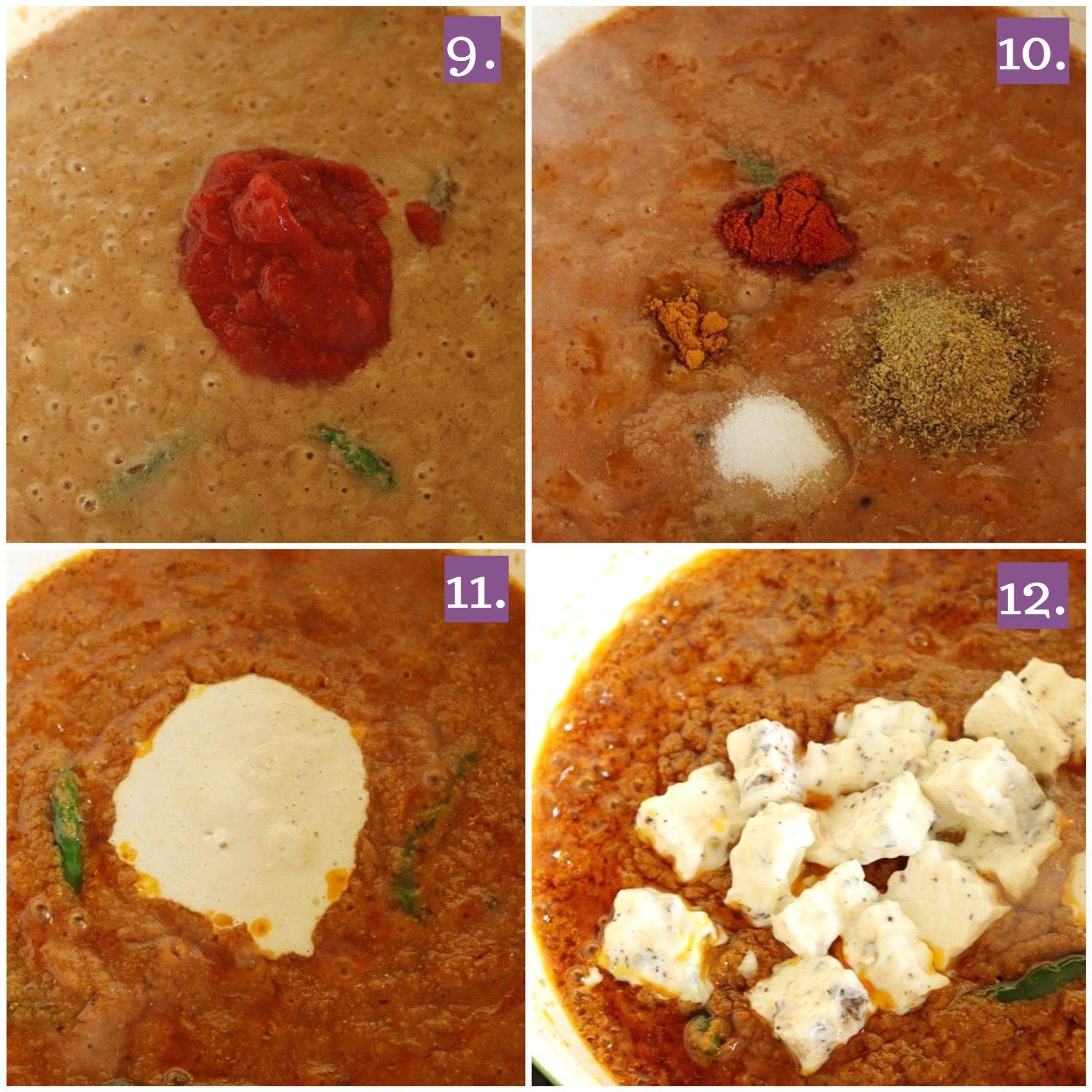Adding paneer and spices to the masala
