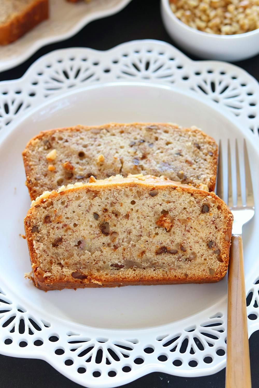 Vegan Banana Nut Bread made with Walnuts - Ruchiskitchen