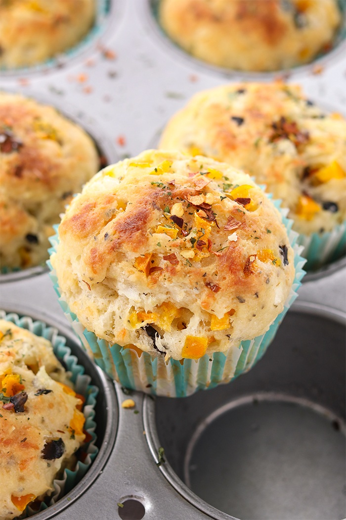 Baked vegetable muffin in a baking tray