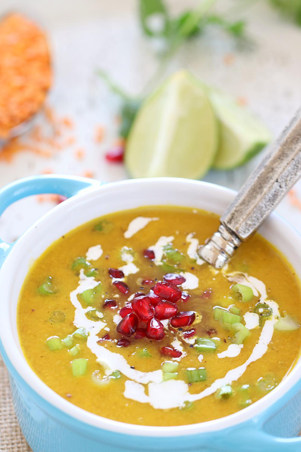 Roasted Butternut Squash and Lentil Soup - Ruchiskitchen