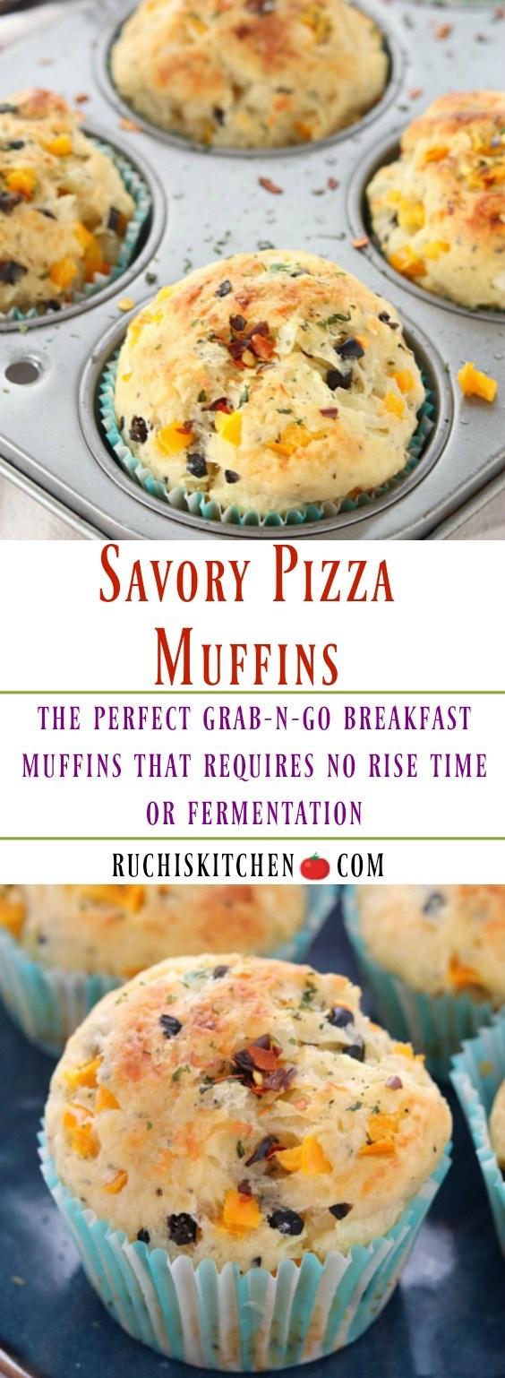 Savory Pizza Muffins - Ruchiskitchen