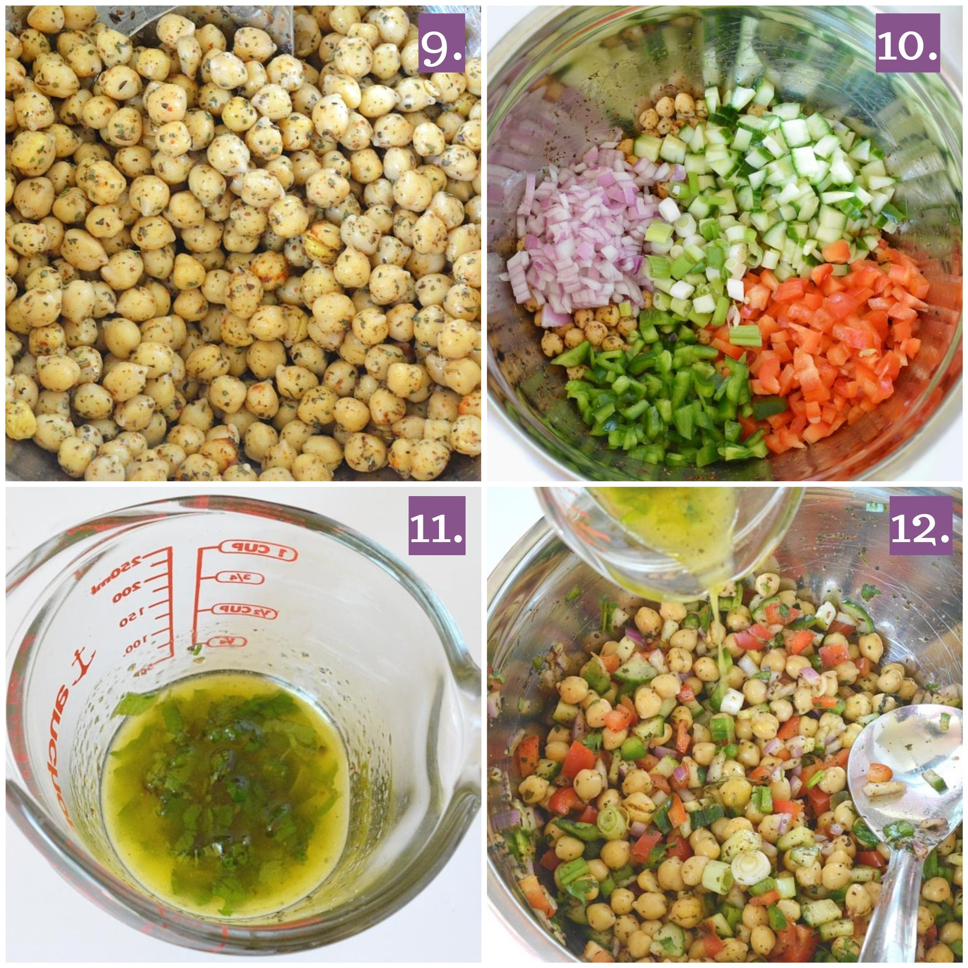 Prepare dressing for chickpea salad