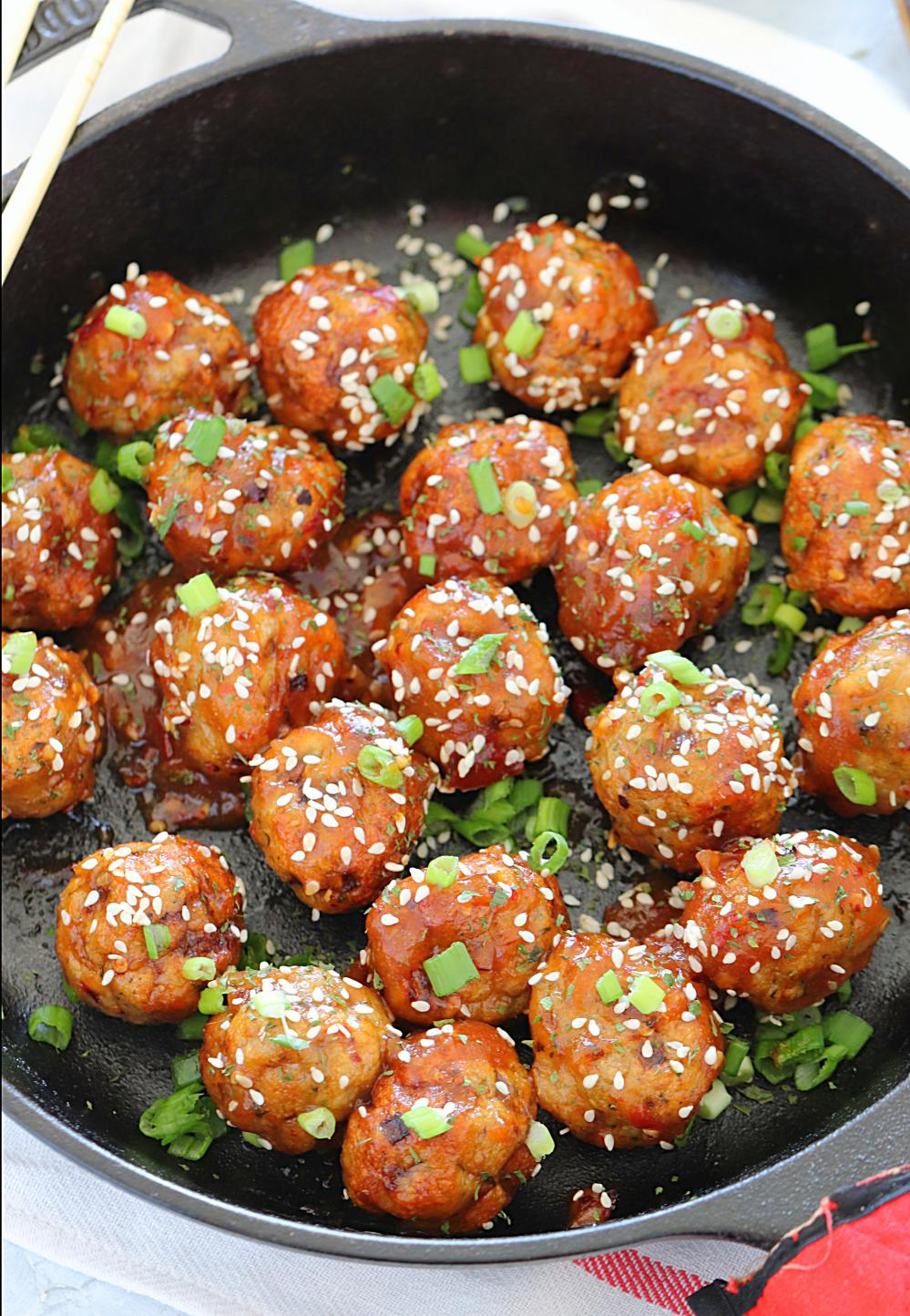 Baked Teriyaki Chicken Meatballs - Ruchiskitchen