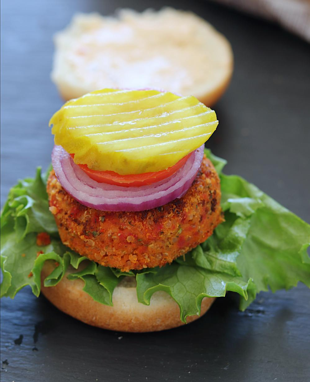 Assemble the sundried tomato burger
