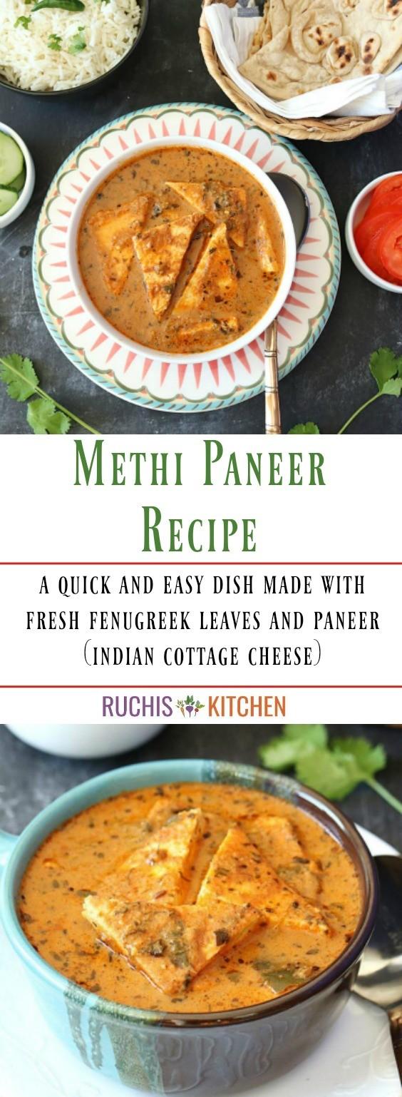 Methi Paneer Recipe - Ruchiskitchen