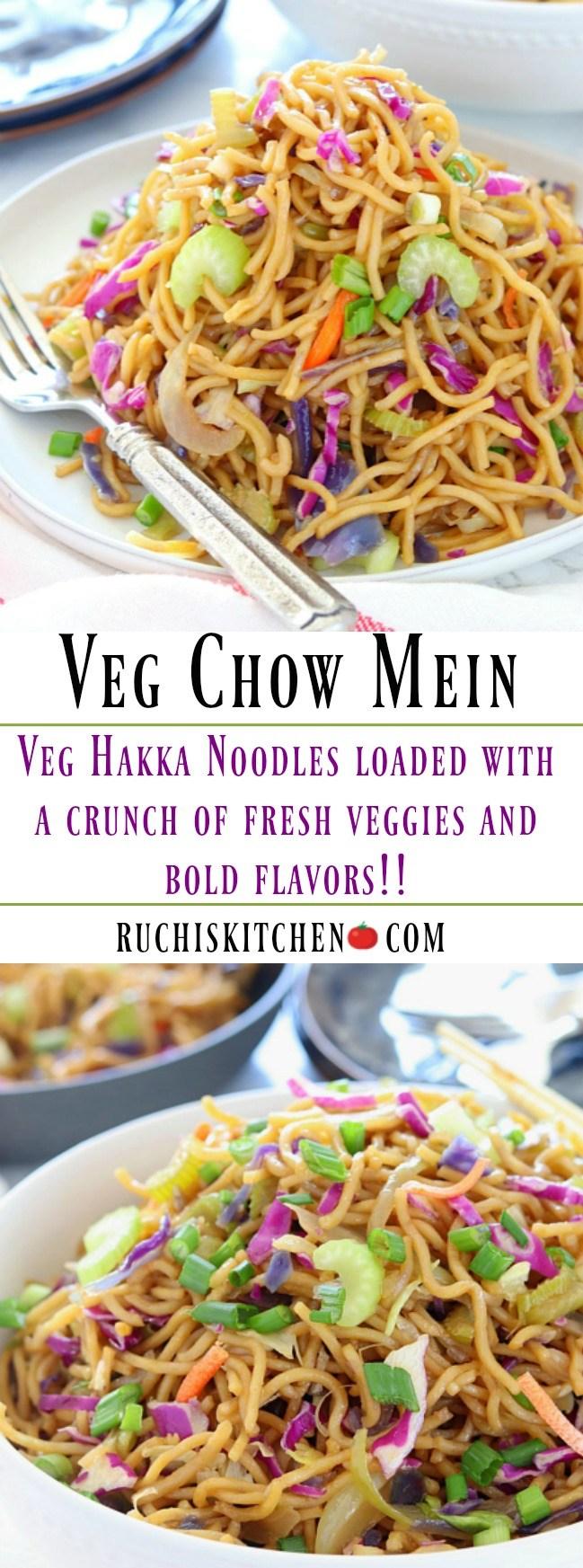 Veg Chow Mein or Hakka noodles - Ruchiskitchen