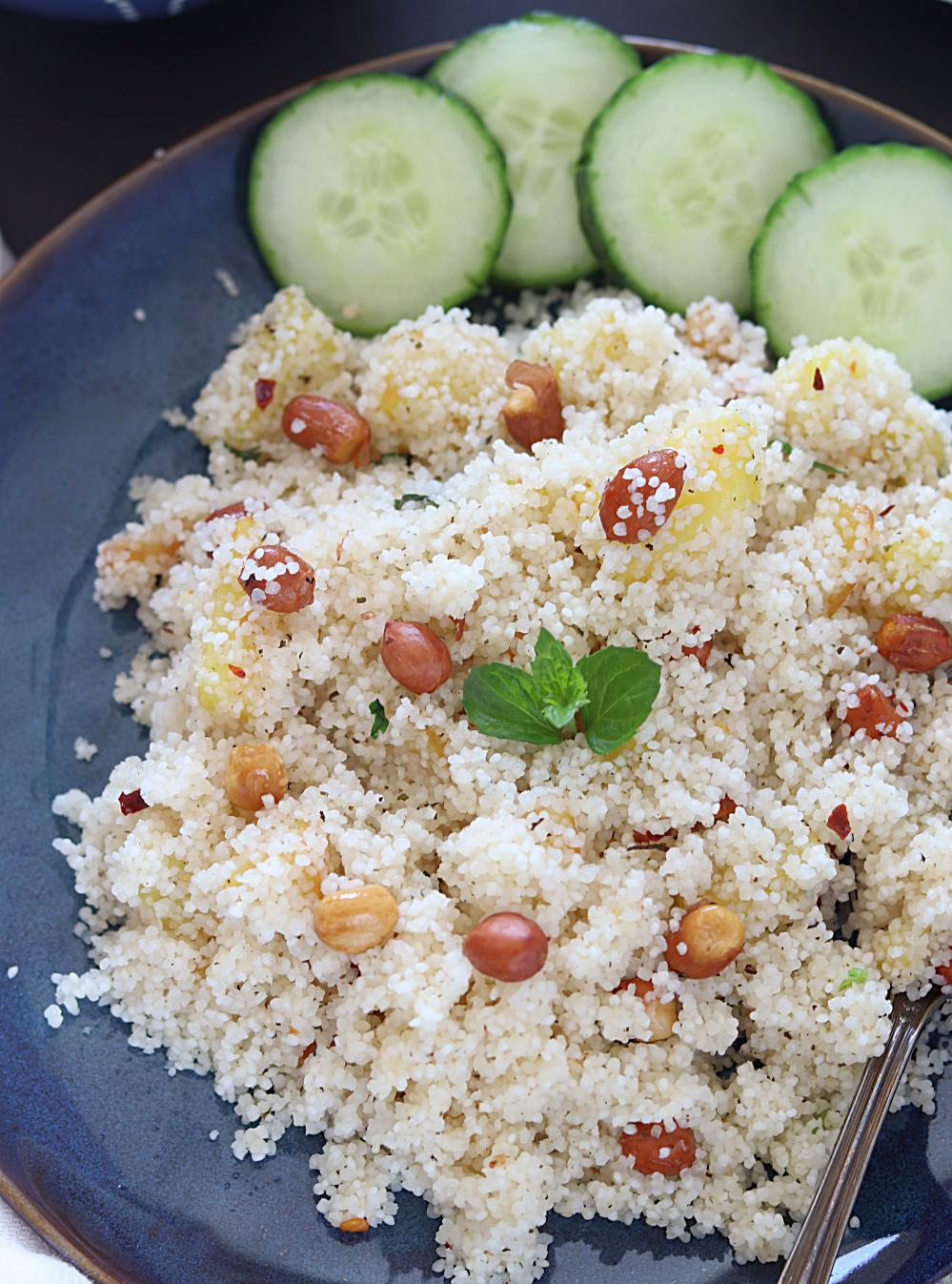 Vrat Rice Pulao or Sama Rice Pulao  in a plate with cucumbers