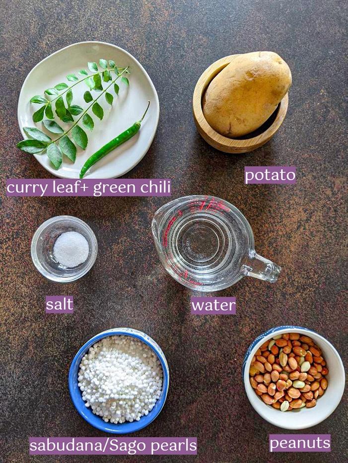 Ingredients for Sabudana Khichdi