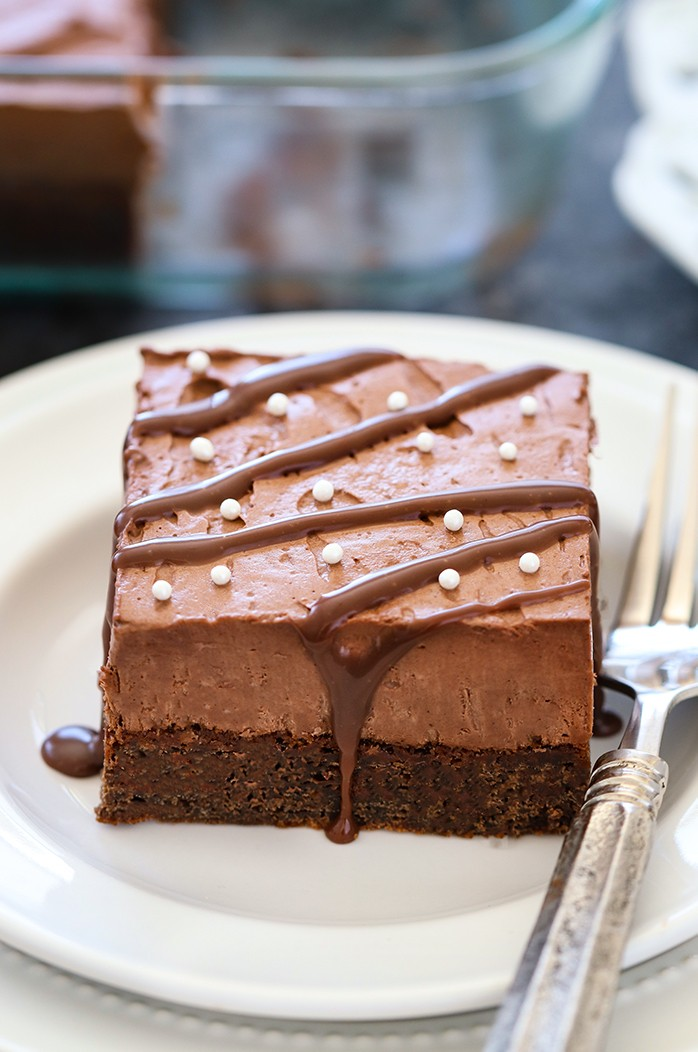 Eggless Chocolate Mousse Brownie on a plate with fork