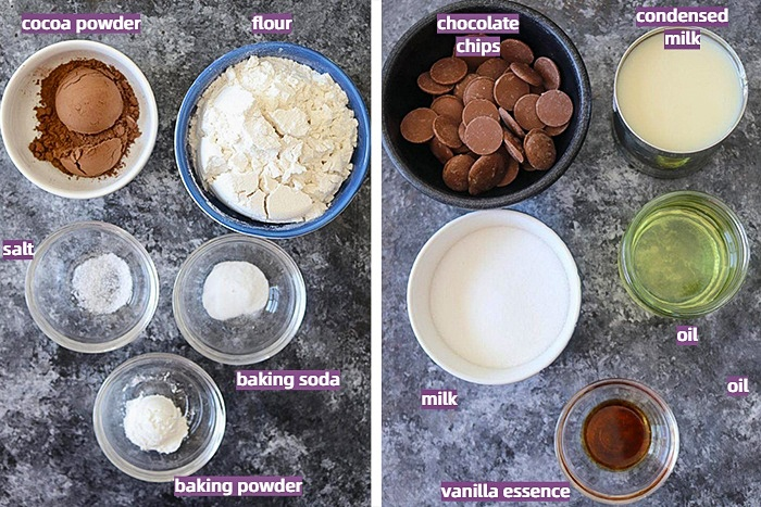 Ingredients for Eggless Chocolate Mousse Brownie
