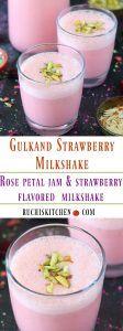 Gulkand Strawberry Milkshake - Ruchiskitchen