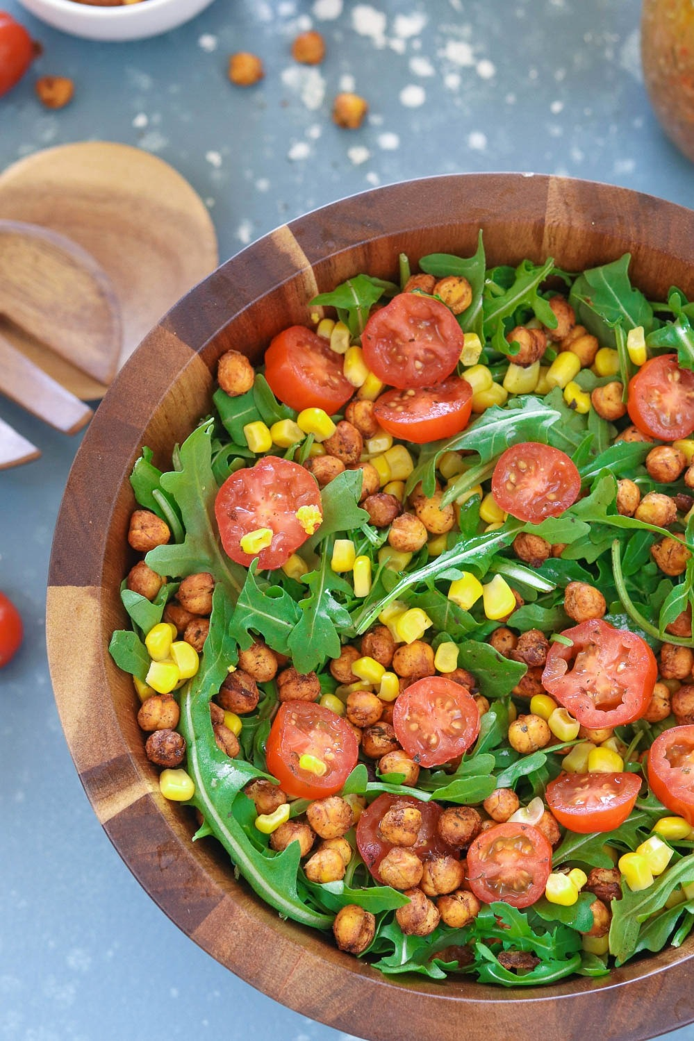 Roasted Chickpea And Arugula Salad | Ruchiskitchen.com