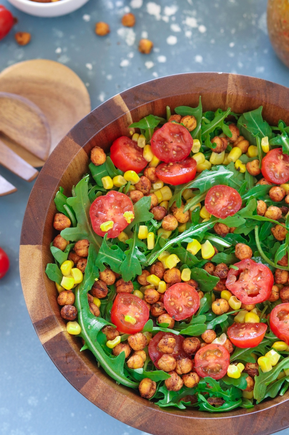 Roasted Chickpea And Arugula Salad | Ruchiskitchen.com