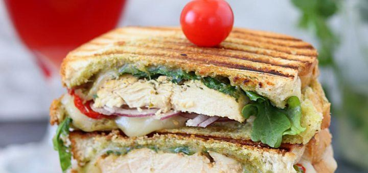 Grilled Chicken Pesto Panini- Ruchiskitchen