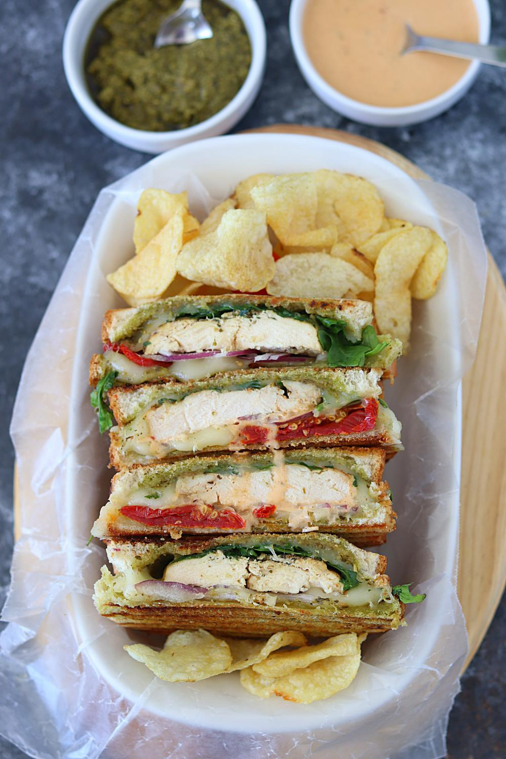 Grilled Chicken Pesto Panini - Ruchiskitchen