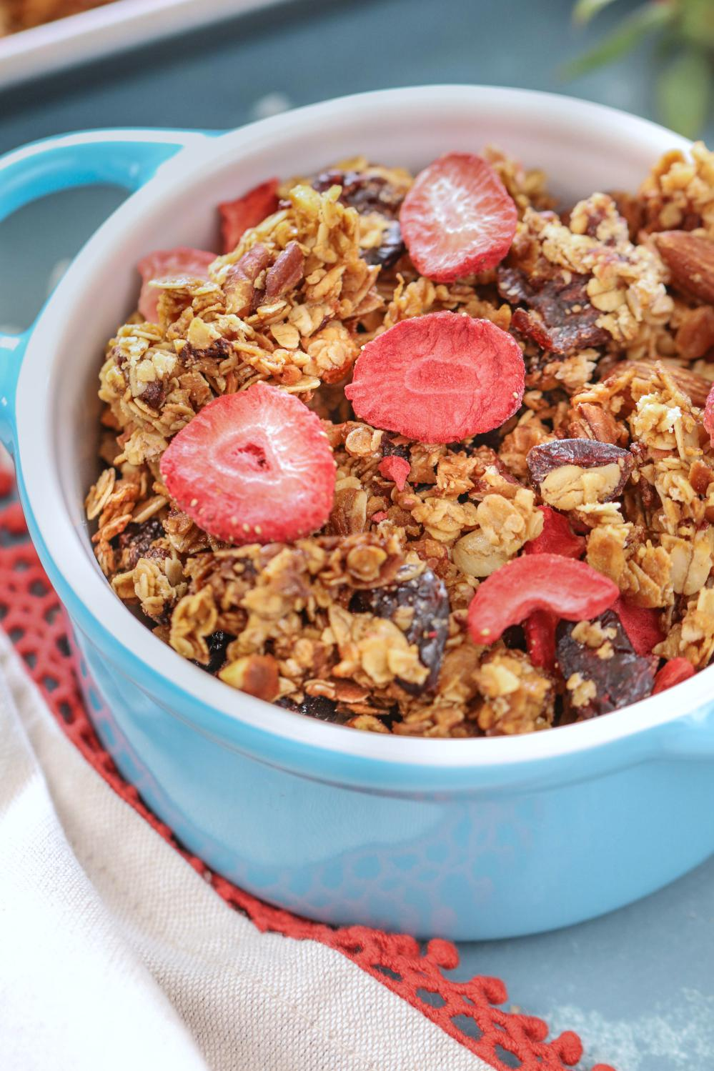 Gluten Free Strawberry Almond Granola| Ruchiskitchen